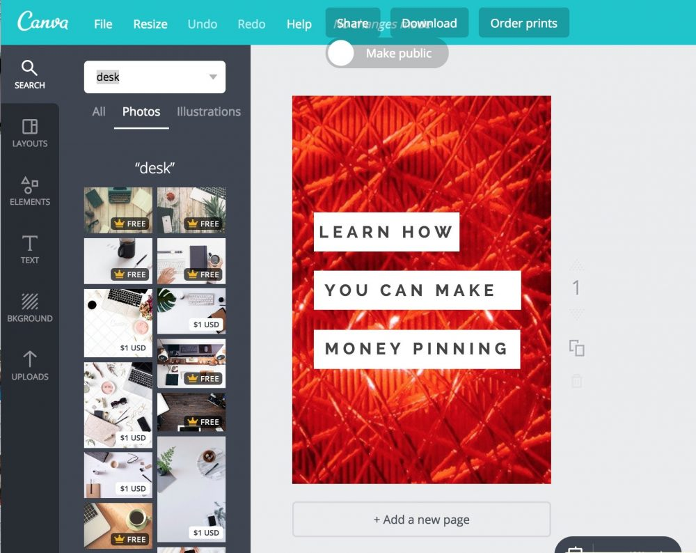 Canva, free stock photography and graphic design.