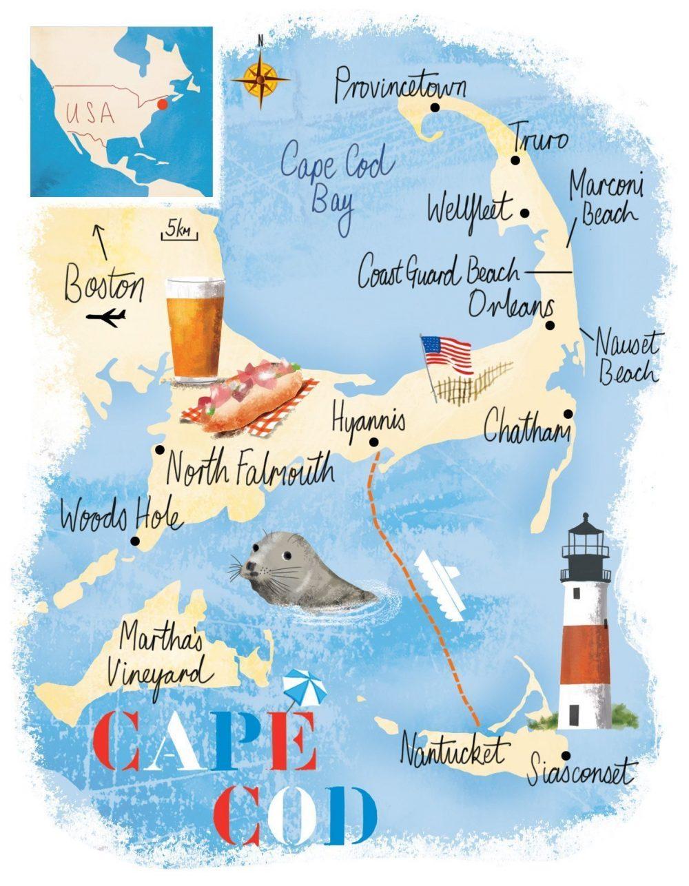 Cape Cod Map Illustration