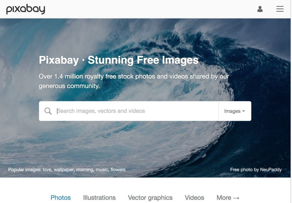 Pixabay website, free stock photography, stock videos