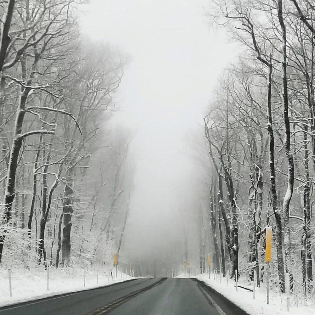 Winter scenery, winter road, driving