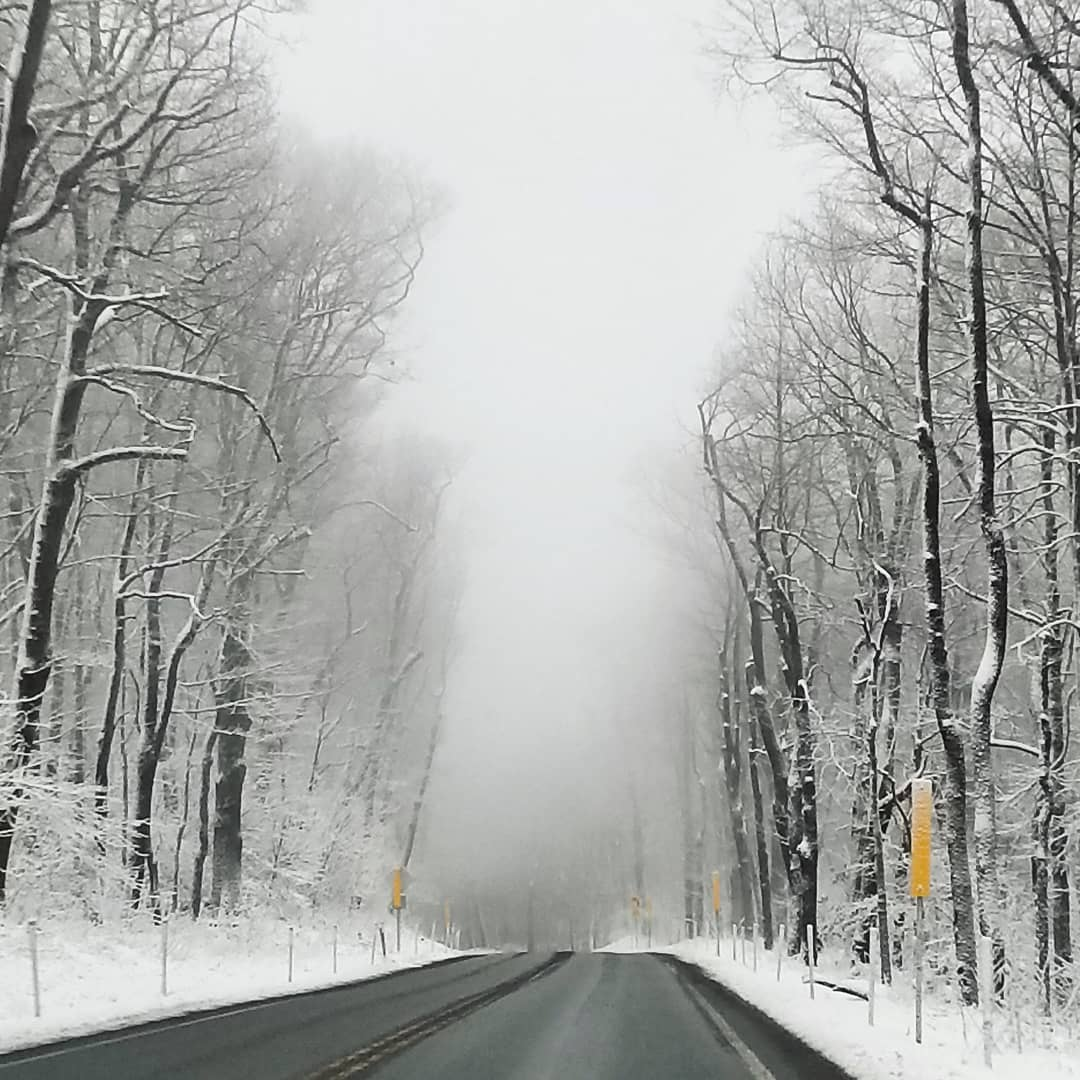 Winter scenery, winter road, driving