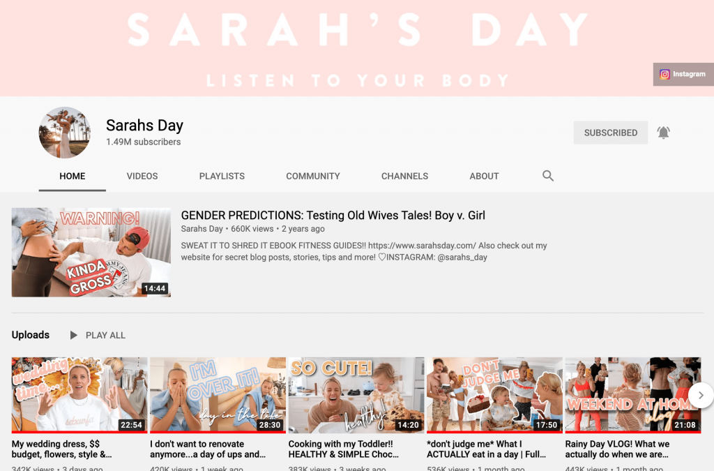 Sarah's Day YouTube Channel