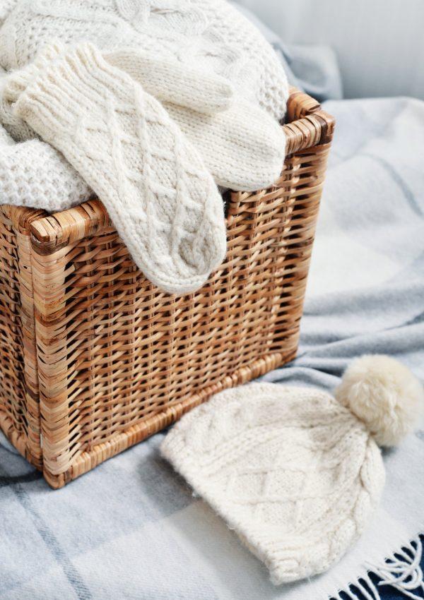 Mittens in a rattan basket