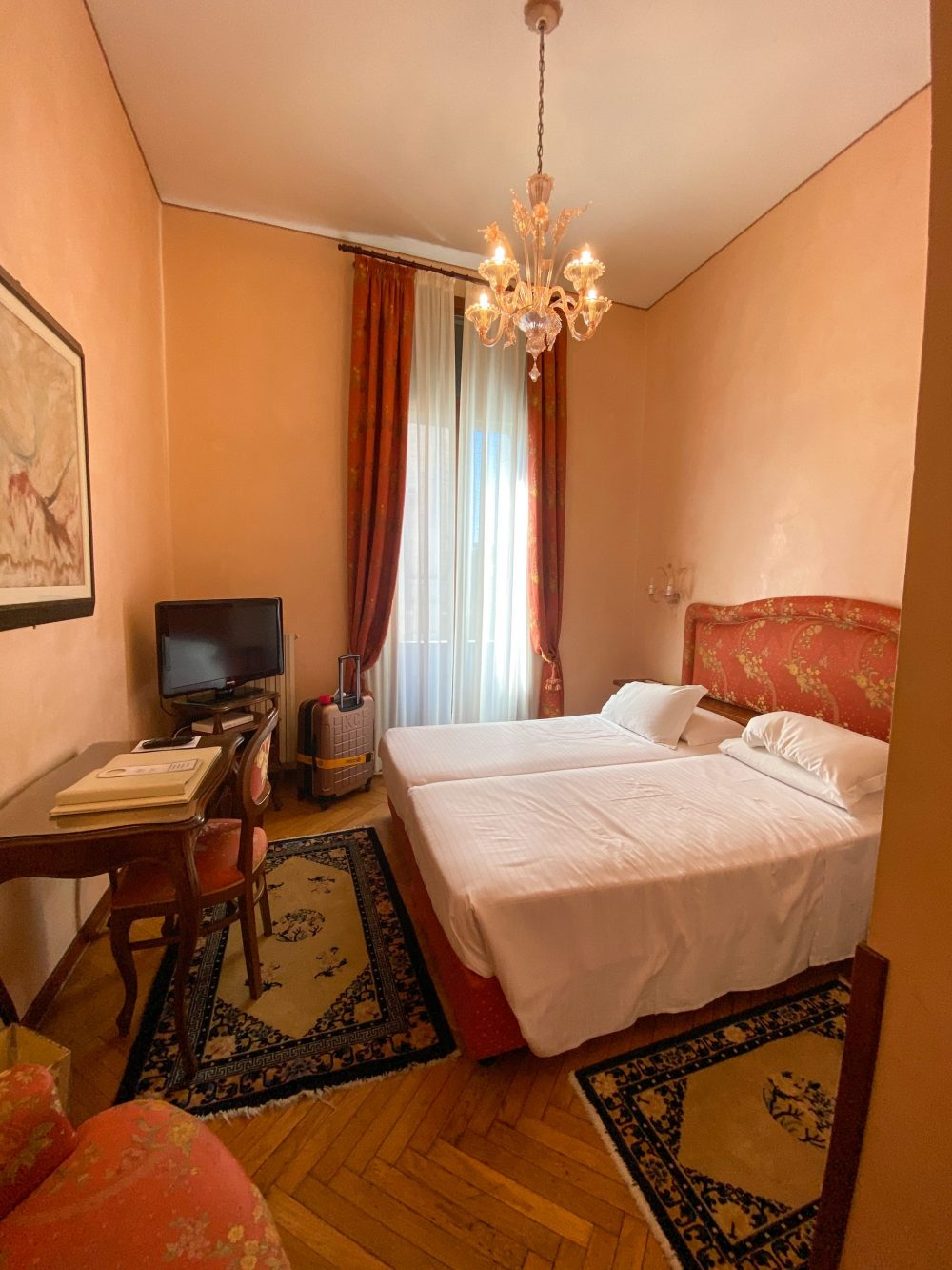 Double room in the Hotel Bonvecchiati, Venice, Italy.