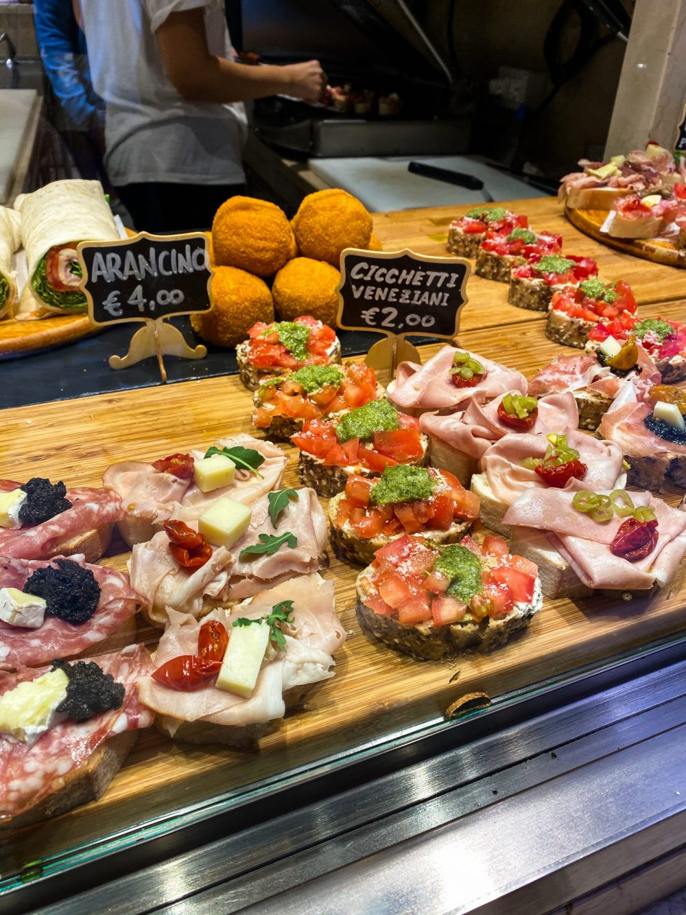 Chiccchetti shop window in Venice, Italy. Chicchetti are small tapas served with drinks.
