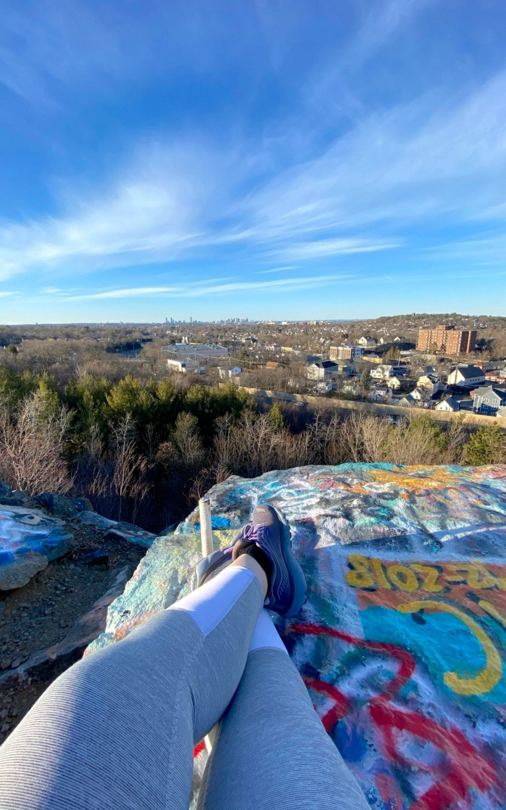 Scenice View of Boston, MA from Quincy Quarries Reservation