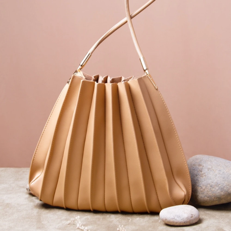 Mother's Day Gift Ideas, Wyllo, Vegan Taupe Pleated Shoulder Bag