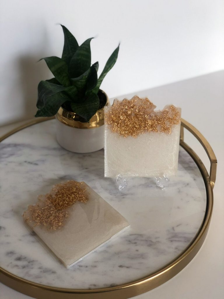 Mother's Day Gift Ideas, Wyllo, White and Gold Geode Resin Coasters