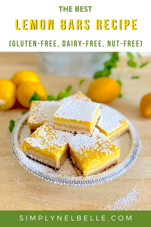 Lemon Bars Recipe, Pinterest Pin, Simply Nel Belle Blog. (Gluten-Free, Dairy-Free, Nut-Free)